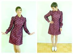 1960s Pink and Black Lace Collar Mod Dress by wildthingvintage, 1950s, Twiggy, Peter Pan Collar, long sleeve mod