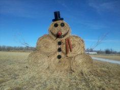 """Hay bale """"snowman"""" - Eastern Colorado"""