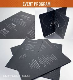 Event Program: Printed with 1-color metallic ink on uncoated black paper. This elegant concept incorporates two half slit sheets that slide together, creating a multi-page program.  #folding #brochure
