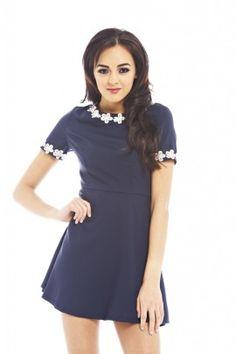 NAVY FLORAL TRIM DRESS shopmodmint.com