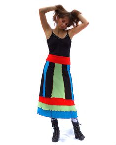 Skirt, Upcycled, Recycled, Tshirts, Black, Blue, Green and Red. $65.00, via…