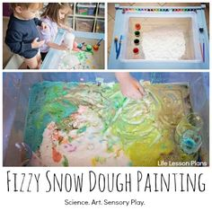 Fizzy Snow Dough Painting, one activity that combines science, art and sensory play with only THREE common ingredients! (Ingredients Art Baking Soda)