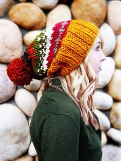Cute knit hat for fall & winter!   The Ainsley Slouch  In Fall Fair Isle by NoliePolieOlies on Etsy, $38.00