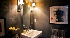 Looking for Bathroom and Powder Room ideas? Browse Bathroom and Powder Room images for decor, layout, furniture, and storage inspiration from HGTV. Chalkboard Wall Bedroom, Black Chalkboard Paint, Blackboard Paint, Chalk Paint, Chalk Wall, Chic Bathrooms, Amazing Bathrooms, Painted Bathrooms, Bathroom Wall
