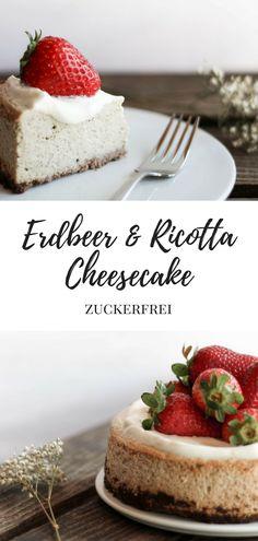Zuckerfreier, unfassbar cremiger Erdbeer & Ricotta Cheesecake zum Muttertag {flowers on my plate}