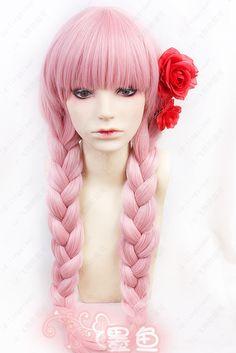 [Carnival] Allie repair karneval card bold pink tiara twin tails and saffron cos wig - Taobao