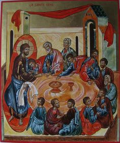 Last Supper Religious Icons, Religious Art, Madonna Art, Last Supper, Orthodox Icons, New Testament, Ikon, Paint Colors, Mystery