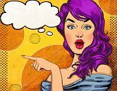Photo of pop art illustration of girl with the speech bubble.Pop.