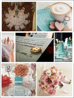Adding shades of pink and gold add a touch of elegance.Combining colors allows you to add dimension to the event. So now instead of a Tiffany theme you have a Tiffany inspired decadence for all things girlie. This is perfect for bridal showers & baby showers and best suited for breakfast brunches. Allowing for your theme to really come across as something special. My absolute favorite is the idea of stacking boxes in Tiffany blue as centerpieces.