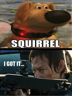 Squirrel!! - The Walking Dead and Up mashup