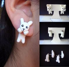 Clinging White Plush Bunny Earrings