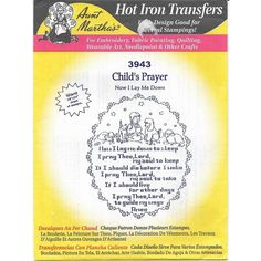 """Aunt Martha's Hot Iron Transfers 3943 Child's Prayer """" X Uncut Listing in the Fabric Transfers,Fabric Painting & Decorating,Crafts, Handmade & Sewing Category on eBid Canada Iron On Embroidery, Embroidery Transfers, Machine Embroidery, Baby Quilt Patterns, Iron On Transfer, Fabric Painting, Hobbies And Crafts, Paintings For Sale, Baby Quilts"""