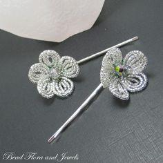 French beaded flower hair bobby pins. Usor de facut pt incepatori in ale florilor si se vind cu 20