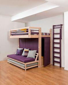 Des rangements dans tous les coins lit mezzanine armoire escalier aux rangeme - Lit mezzanine dressing ...