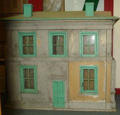 Large painted wooden dolls house, English, Late 19th Century
