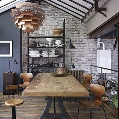 Daily inspiration: tips to get that industrial look for your home: 1. Brick walls make the best pick in reshaping your modern industrial home because it's cozy and edgy. 2. Use modern lighting to glam it up and make the light be a pivotal role for the room. (Source: decoholic) . . . #inspiration #instadaily #igdaily #industrialdesign #decor #love #happy #home #diningroom #furniture #accessories #indonesia #sofisofi #light #modern #vintage #ideas by sofisofidotcom