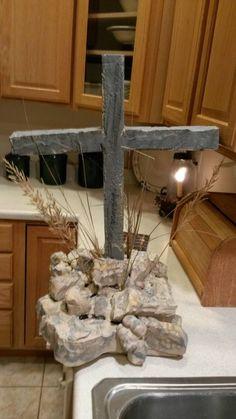 Cross with Stones Halloween cemetery