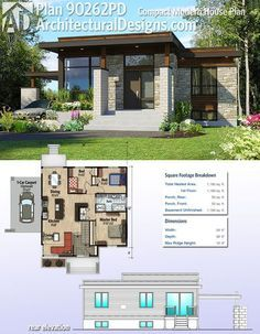 Plan Compact Modern House Plan Architectural Designs Compact Modern House Plan gives you 2 beds and over square feet of heated living space. Where do YOU want to build? Small Modern House Plans, Small House Design, Small House Plans, Modern House Design, House Floor Plans, Tiny Home Floor Plans, Modern Floor Plans, Casas Containers, Rustic Home Design