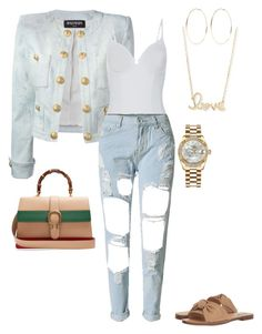 """""""Casual with Balmain"""" by renelleboodoosingh on Polyvore featuring Balmain, La Perla, WithChic, Steve Madden, Sydney Evan, Gucci, Kenneth Jay Lane and Rolex"""