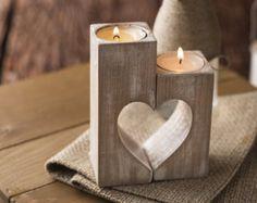 Heart Candle holders Wooden Candle Holder von WoodenEngravedShop