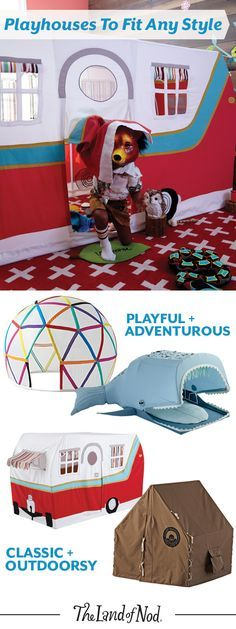 Create a playspace anyplace with a teepee or playhouse. By choosing a playhouse that's both functional and chic, you can add interest to your living space, while also keeping the little ones busy.