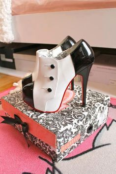 black and white high #heel #shoes