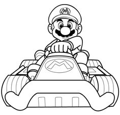 Mario Kart Driving Coloring Page Pages Video Games Boys Free Online And Printable