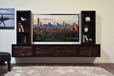 Entertainment center for wall mounted tv ideal modern wall mounted floating tv stand entertainment console Wall Mount Entertainment Center, Entertainment Shelves, Entertainment Furniture, Floating Wall Unit, Floating Tv Stand, Floating Shelves, Open Shelves, Floating Tv Console, House Shelves
