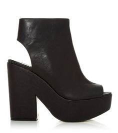 Black Cut Out Chunky Shoe Boots