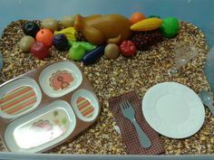 Thanksgiving Sensory Box November Thanksgiving, Thanksgiving Preschool, Thanksgiving Art, Fall Preschool, Sensory Boxes, Sensory Table, Sensory Play, Art Activities For Toddlers, 3 D