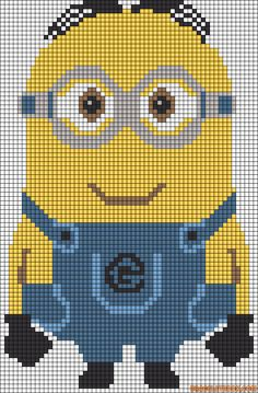 Large Minion Despicable Me perler bead pattern cross stitch