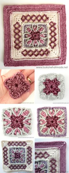[Crochet Photo Tutorial] This 12 Inch Square Called Esme's Winter Cottage Square Is Simply Gorgeous!