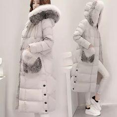 Online Shop 2016 New Fashion Women Down Coat Slim Winter Coat Women's Long Coat Womens Down Jackets Parka Fox fur collar Winter Coats Women, Coats For Women, Jackets For Women, Winter Jackets, Clothes For Women, New Fashion, Winter Fashion, Fashion Outfits, Womens Fashion