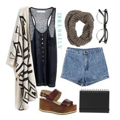 A casual and comfy outfit works best for study dates with friends. A loose-fitting tank, high-waist shorts, flatforms and a kimono shrug makes for a cute and fuss-free outfit! www.dressi.ly