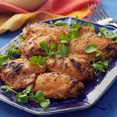 Turkish chicken thighs with lemon, yogurt, garlic, ginger, paprika, and mint - Eating Well. http://mobile.eatingwell.com/recipes/turkish_chicken_thighs.html