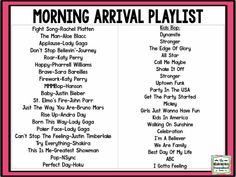 Music In The Classroom:  Morning Arrival Playlist
