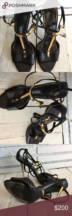 Tom Ford black & Gold Heels Beautiful black and gold Tom Ford heel with metal gold front and black strap around ankles. Matches with everything . Tom Ford Shoes Heels