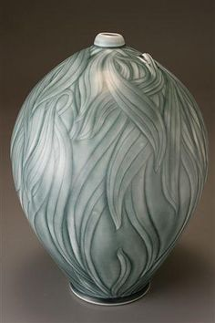 "Lizard/Leaf Bottle - 12"" x 9"" thrown & incised porcelain, stain, steel blue celadon glaze by Elaine Coleman"