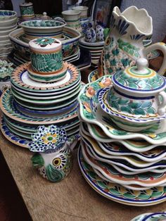 On buying trip in Mexico June 5-14. Here are some of our new favorite plates, bowls, salt and pepper shakers, rooster pitchers, vases, and more from Gorky Gonzalez. #ceramics #travel #pottery