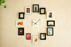 Wall clock using photo frames; this would be super cool to do with birth-through-1 year old pics!