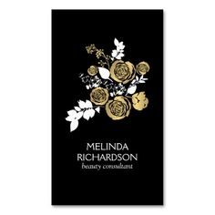 100% customizable business card template for stylists, event planners, designers, decorators, salons and more. Beautiful black card features a gold and white bouquet for an eye-catching effect.