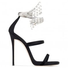 Giuseppe Zanotti - VERA - Black Satin Women's Sandal With Crystal Anklet