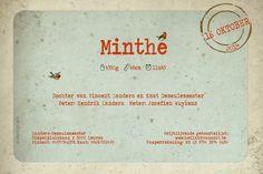 Geboortekaartje Minthe - achterkant - tekstontwerp - vintage stijl - Pimpelpluis - https://www.facebook.com/pages/Pimpelpluis/188675421305550?ref=hl (# layout - tekstontwerp - vogel - retro - vintage - dieren - origineel)