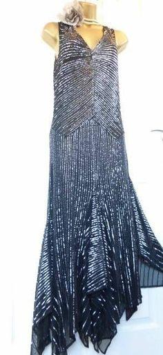 KAREN MILLEN Sequin Wedding Cocktail Gatsby Deco Flapper 20's Dress 12 EU 40 US8