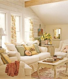 Pastels  A pastel palette in the sitting room can keep things light and soothing for guests. Add textural interest to ivory slipcovers by mixing damask, matelasse. Stripped chenille that's been turned inside out can also create a formal effect. The slipcovers are by Nancy Johnson and the pillows are Homestead.