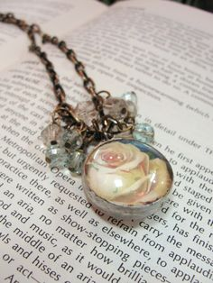 OOAK soldered charm cream rose pendant by Obsession4Treasures, $48.00