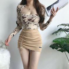 Irregular high waist elastic short skirt tight package hip side drawcord knitted mini skirt – Wear And Live Sexy Outfits, Korean Outfits, Mode Outfits, Skirt Outfits, Fashion Outfits, Look Fashion, Girl Fashion, Womens Fashion, Ulzzang Fashion