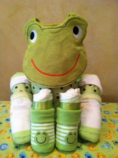 Frog diaper cake, Frog decorations, Frog baby shower, Baby frog, Frog bib, Baby gift. $39.00, via Etsy.