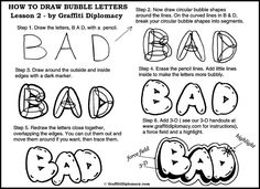 How to draw Bubble Letters Step By Step -Graffiti Art Lessons- Free Tutorials - Learn to draw graffiti