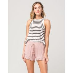 Full Tilt Eyelet Trim Womens Shorts ($20) ❤ liked on Polyvore featuring full tilt